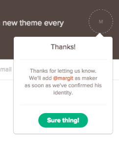 Screenshot of tweet to Product Hunt, earlier today 2/19/15
