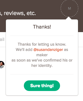 The corrected response on Product Hunt