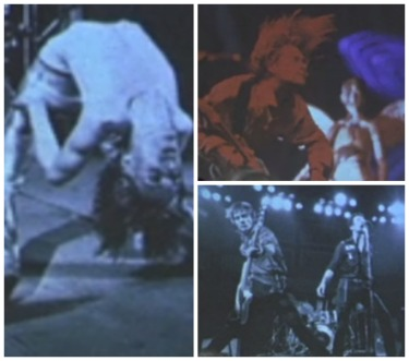 Slideshow of artists; clockwise: Iggy Pop, Kurt Cobain (Nirvana), The Clash