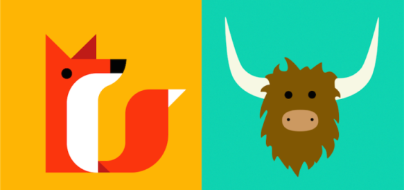 New Secret Redesigned Logo (left) and Yik Yak Logo (right); photo courtesy of TechCrunch