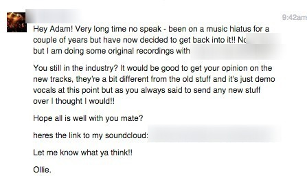 Screenshot of Facebook message from old band contact