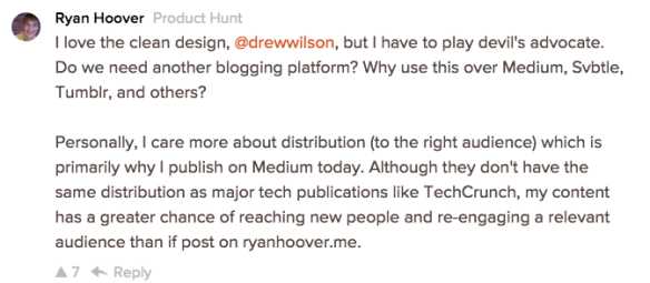 Screenshot of Hoover's comment on Product Hunt