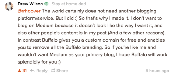 Screenshot of Wilson's response on Product Hunt.