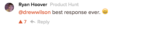 Hoover's second response on Product Hunt.